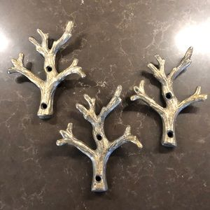 Tree branch hooks drawer pulls decor accents